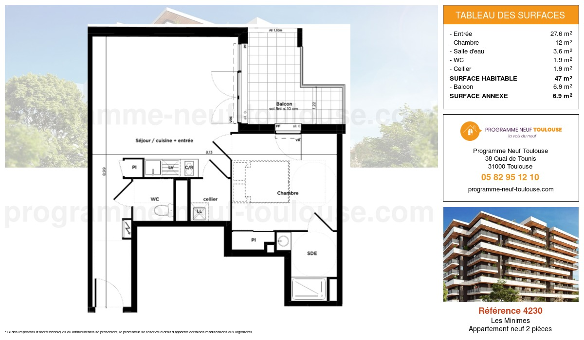 Plan pour un Appartement neuf de  47m² à Les Minimes