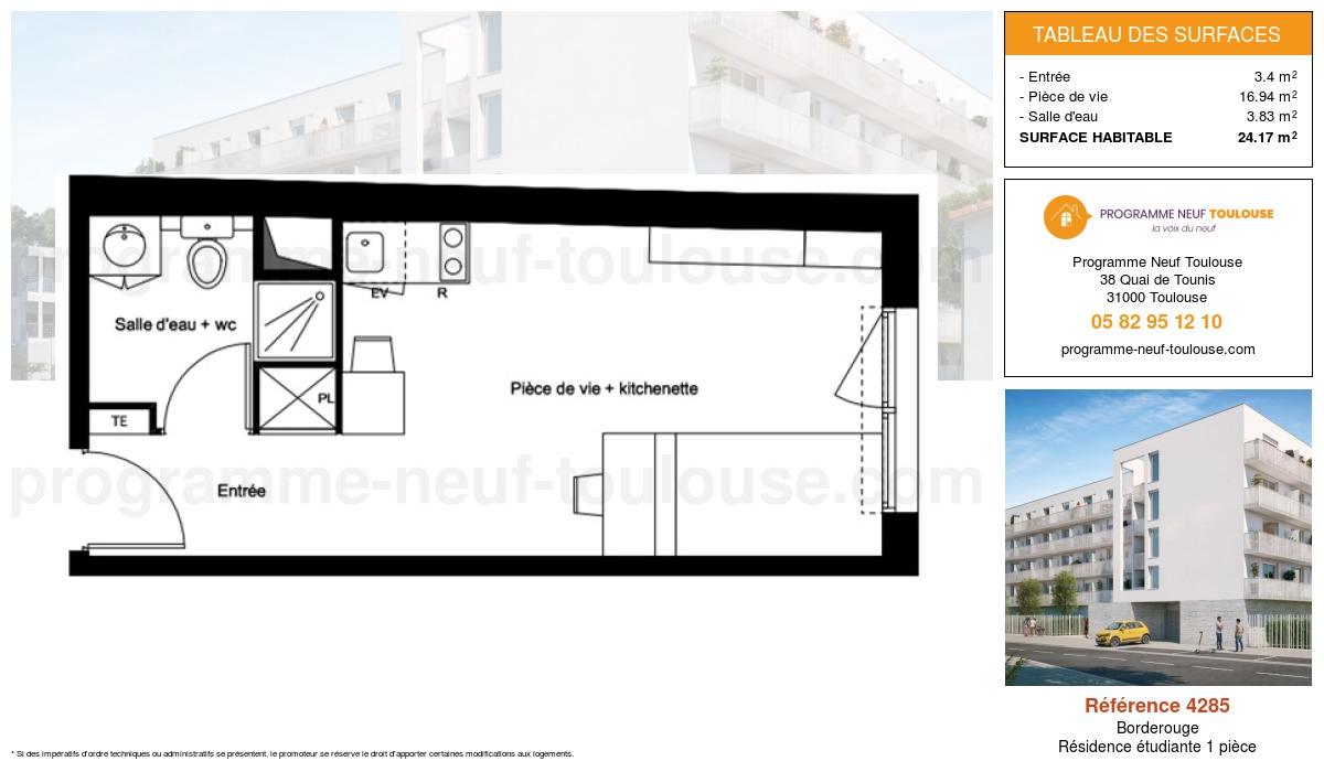 Plan pour un Résidence étudiante de  24.17m² à Borderouge