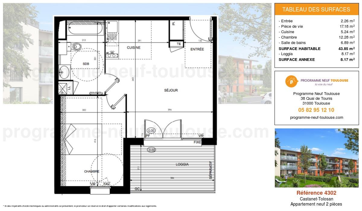 Plan pour un Appartement neuf de  43.85m² à Castanet-Tolosan