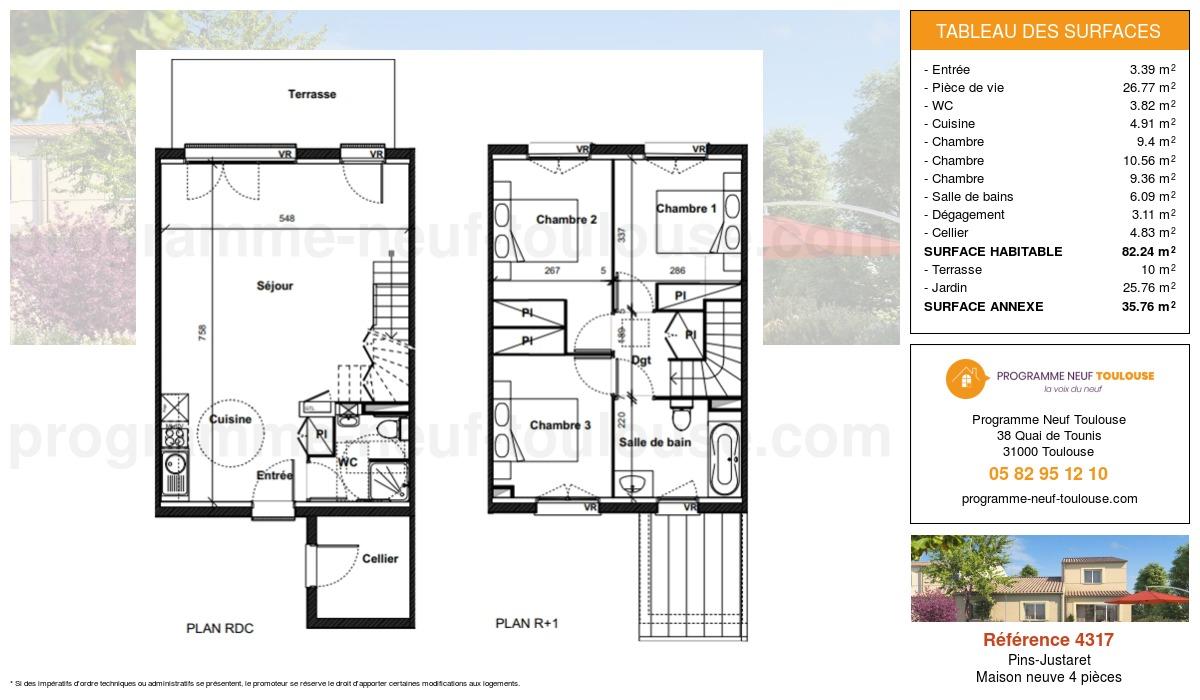 Plan pour un Maison neuve de  82.24m² à Pins-Justaret