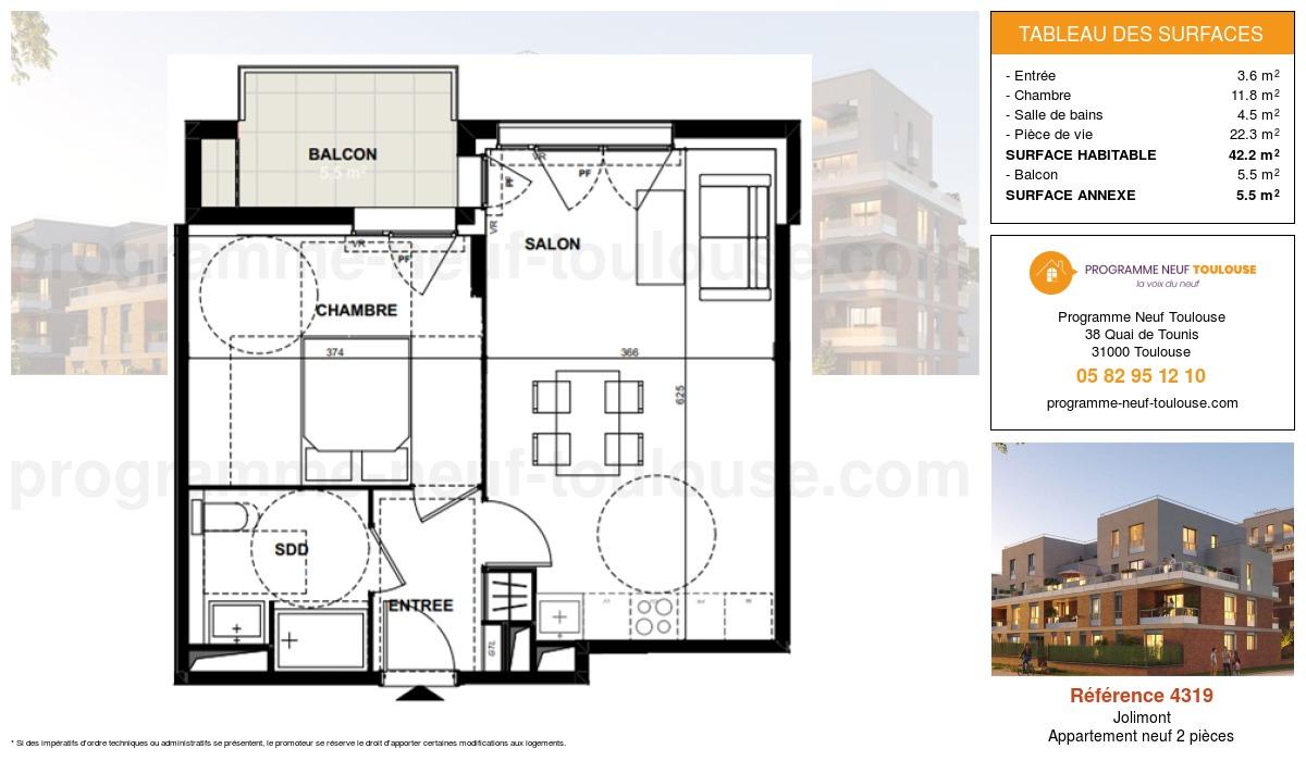 Plan pour un Appartement neuf de  42.2m² à Jolimont