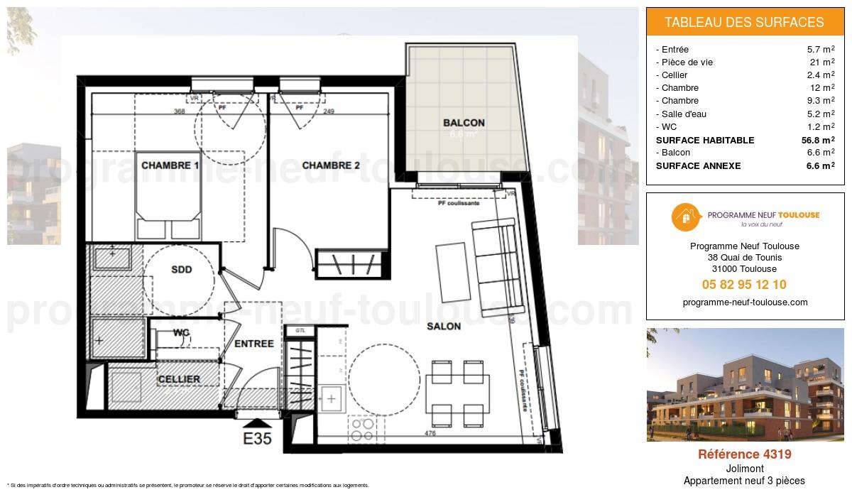 Plan pour un Appartement neuf de  56.8m² à Jolimont