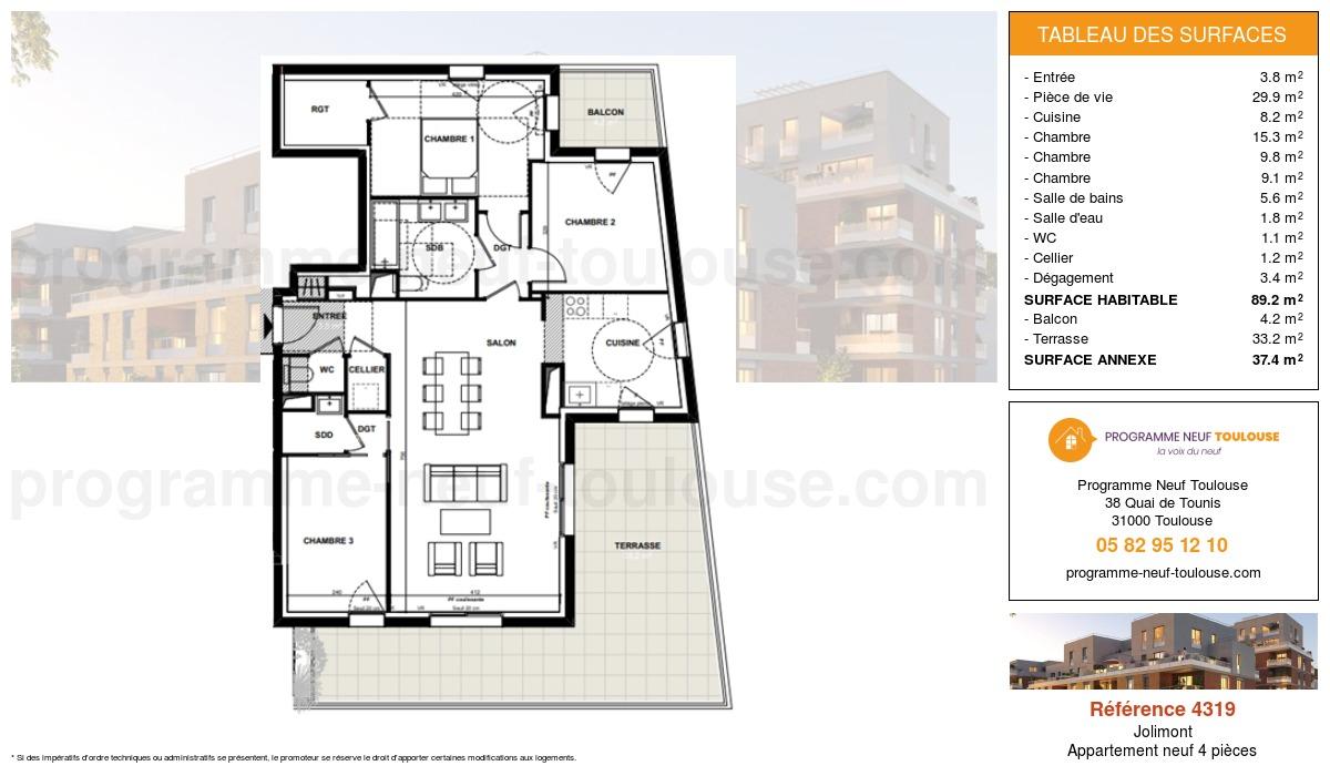 Plan pour un Appartement neuf de  89.2m² à Jolimont