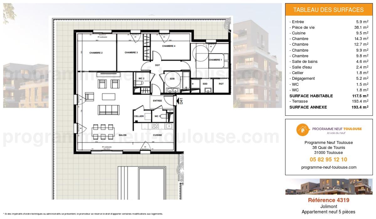 Plan pour un Appartement neuf de  117.5m² à Jolimont