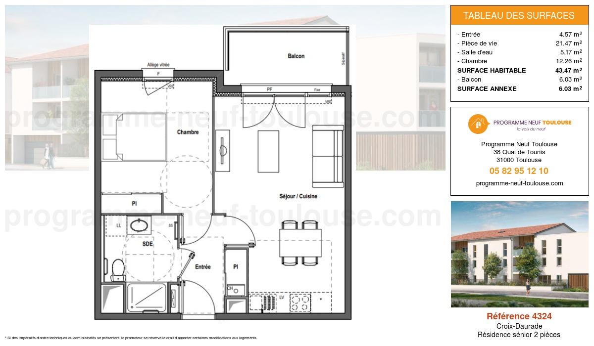Plan pour un Résidence sénior LMNP de  43.47m² à Croix-Daurade