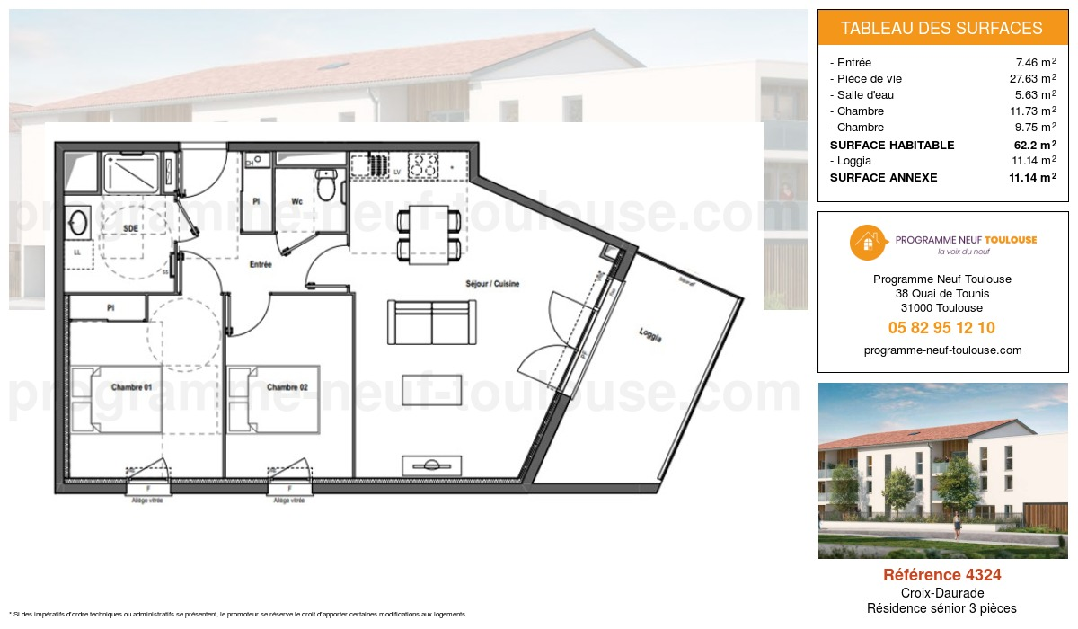 Plan pour un Résidence sénior LMNP de  62.2m² à Croix-Daurade