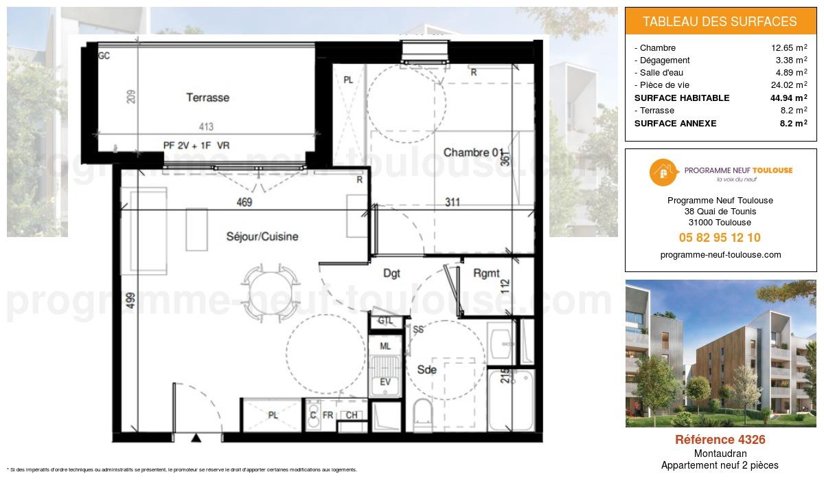 Plan pour un Appartement neuf de  44.94m² à Montaudran