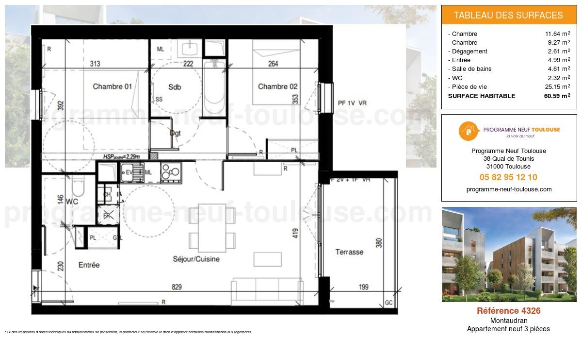 Plan pour un Appartement neuf de  60.59m² à Montaudran