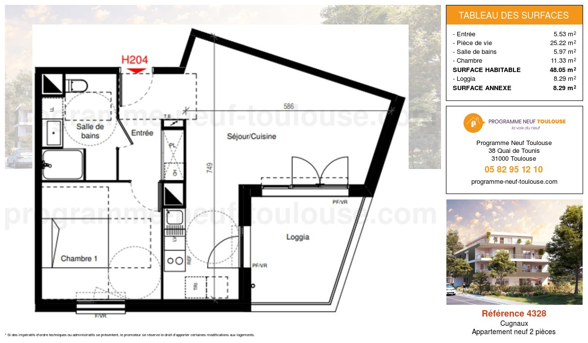 Plan pour un Appartement neuf de  48.05m² à Cugnaux