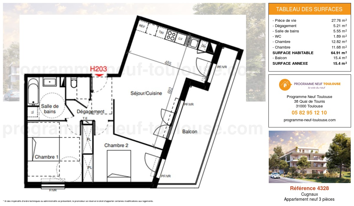 Plan pour un Appartement neuf de  64.91m² à Cugnaux