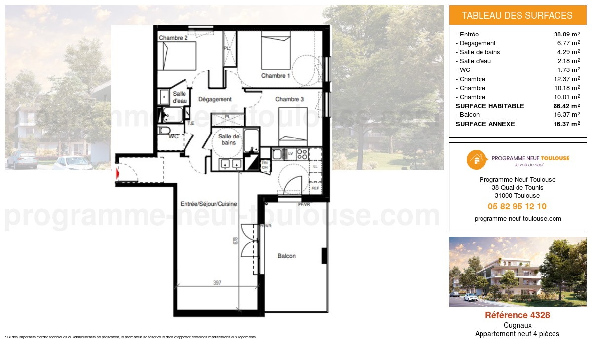 Plan pour un Appartement neuf de  86.42m² à Cugnaux
