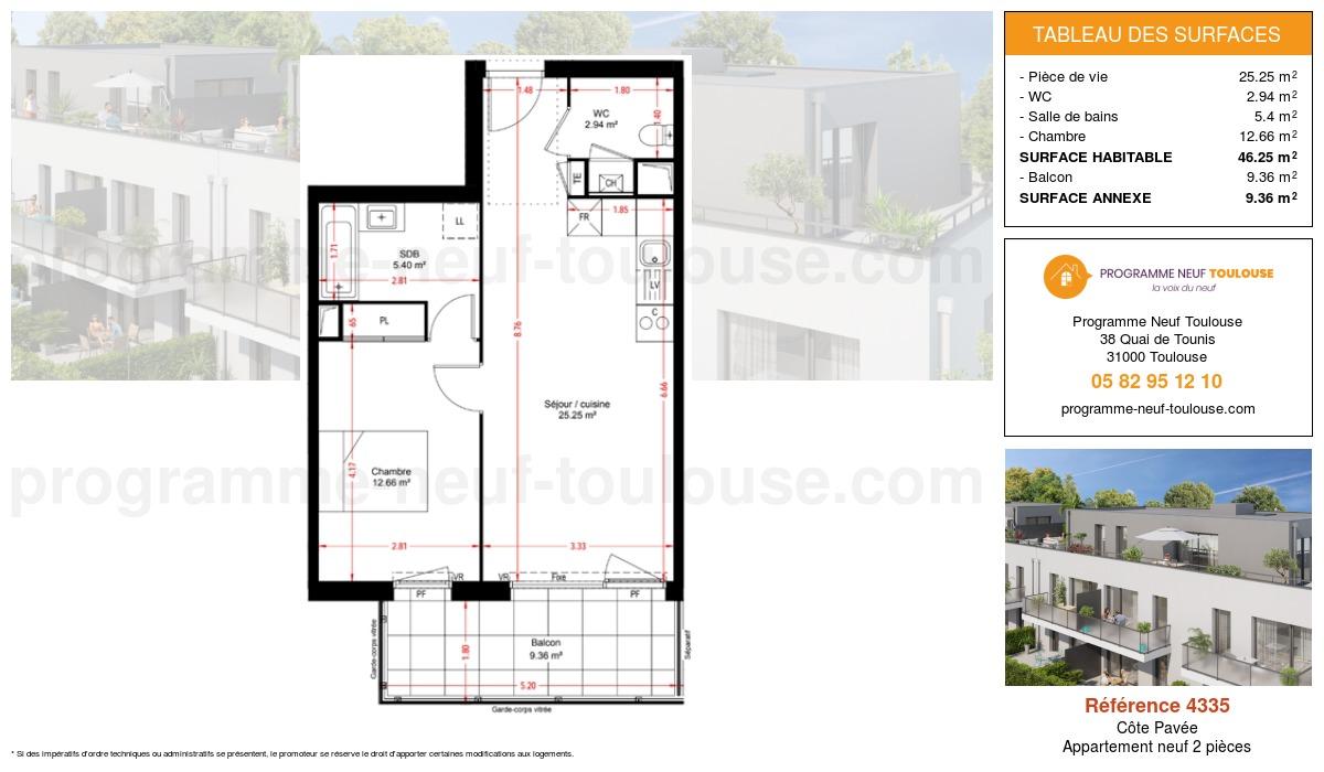 Plan pour un Appartement neuf de  46.25m² à Côte Pavée