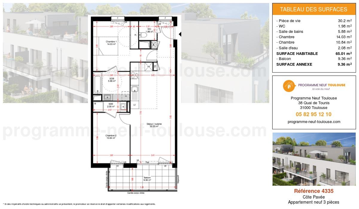 Plan pour un Appartement neuf de  65.01m² à Côte Pavée