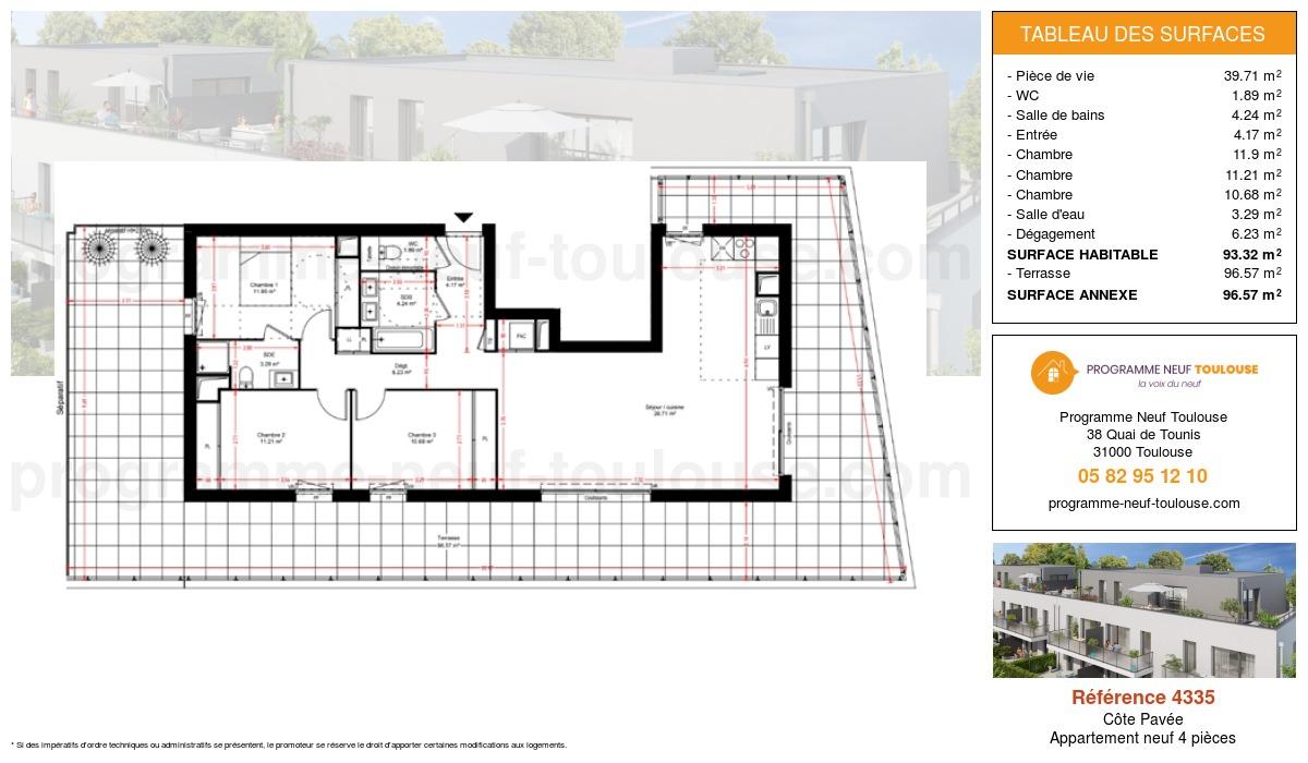 Plan pour un Appartement neuf de  93.32m² à Côte Pavée
