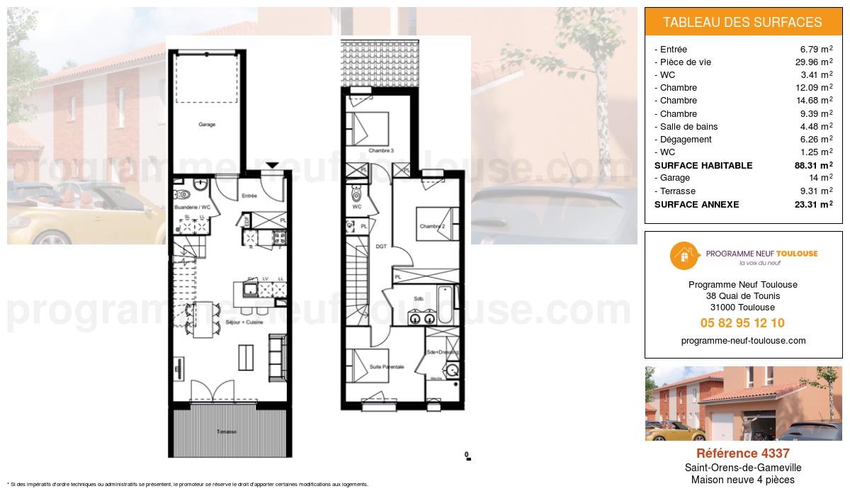 Plan pour un Maison neuve de  88.31m² à Saint-Orens-de-Gameville