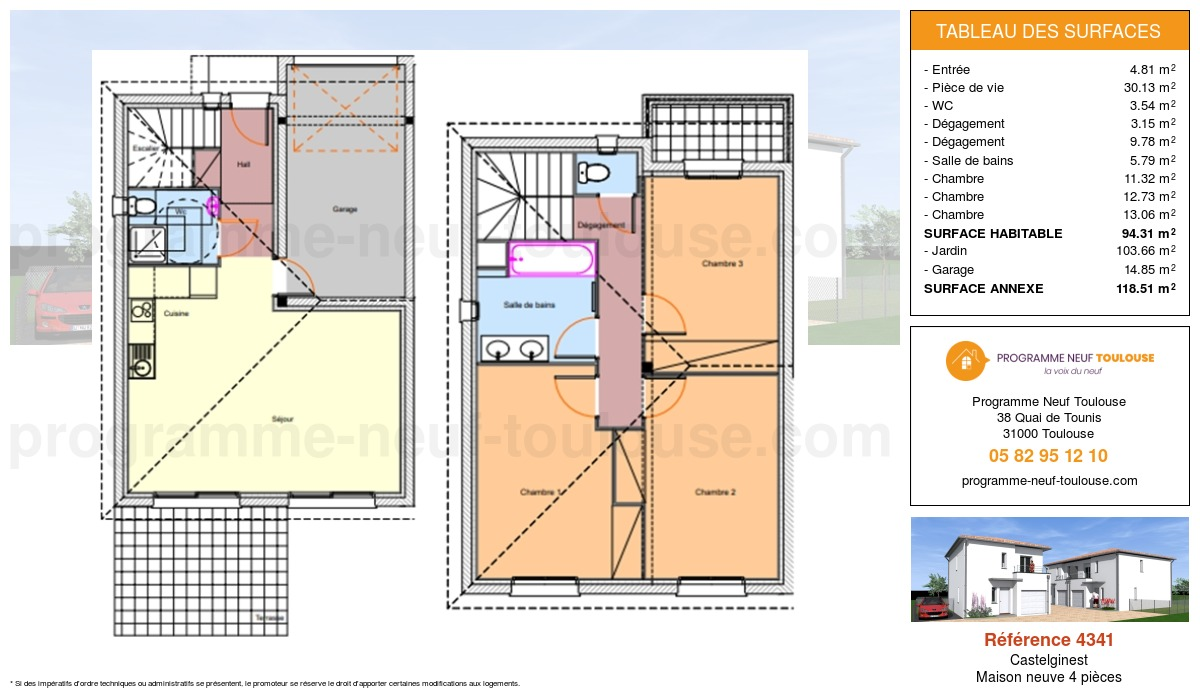 Plan pour un Maison neuve de  94.31m² à Castelginest