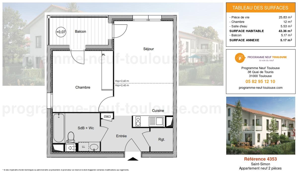 Plan pour un Appartement neuf de  43.36m² à Saint-Simon