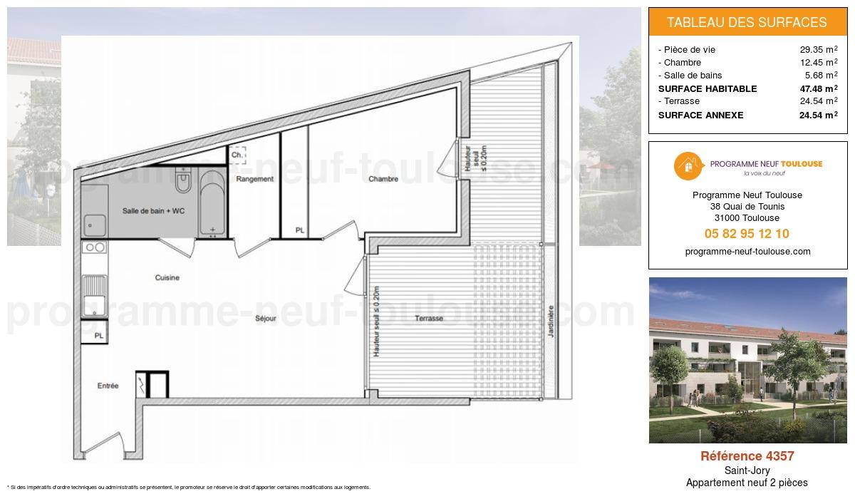 Plan pour un Appartement neuf de  47.48m² à Saint-Jory