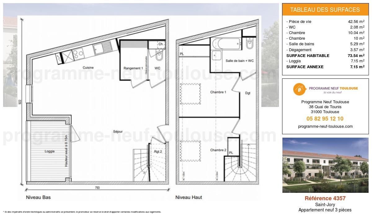 Plan pour un Appartement neuf de  73.54m² à Saint-Jory