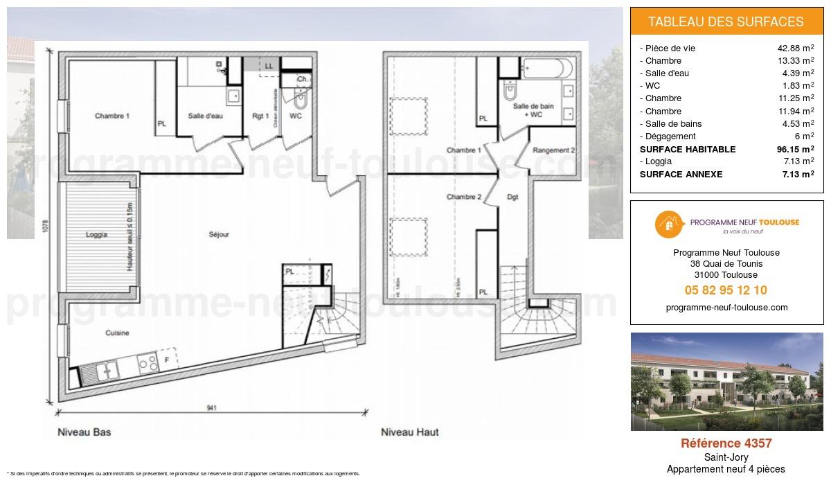 Plan pour un Appartement neuf de  96.15m² à Saint-Jory