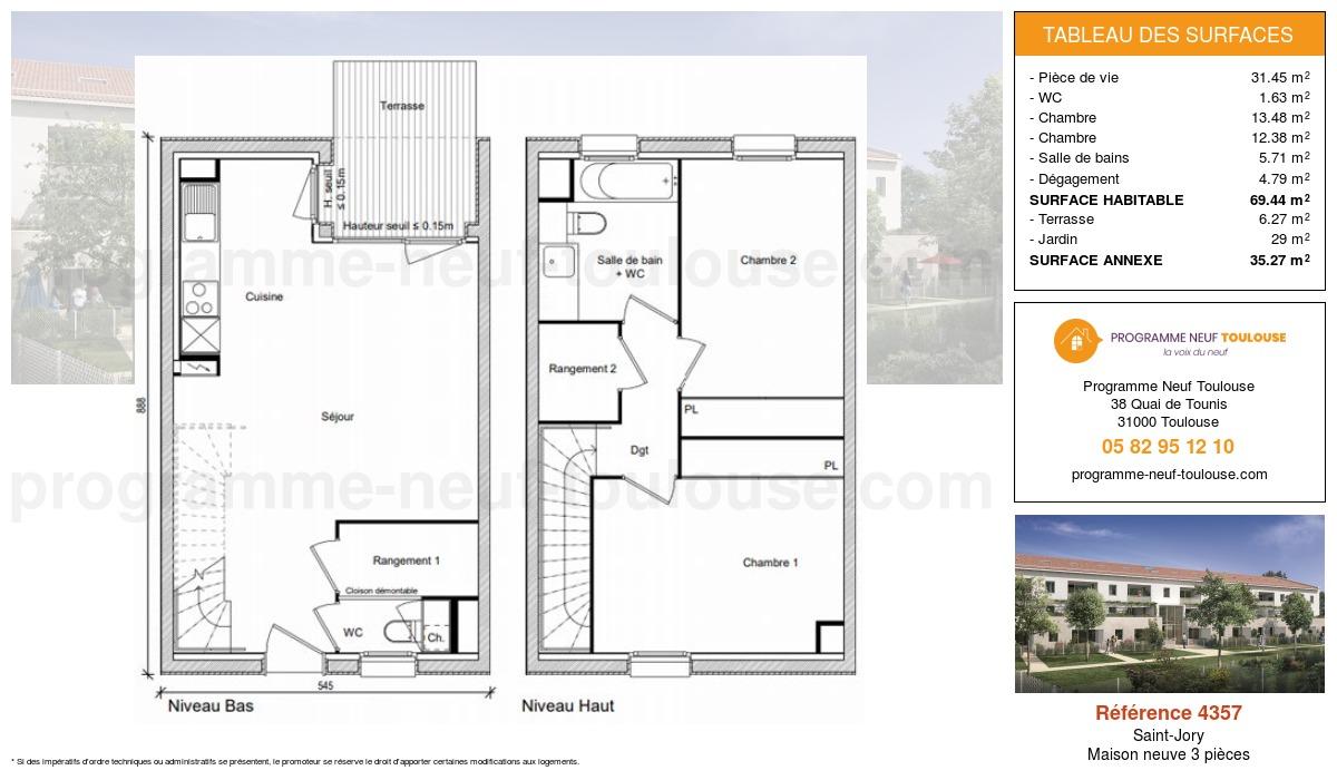Plan pour un Maison neuve de  69.44m² à Saint-Jory
