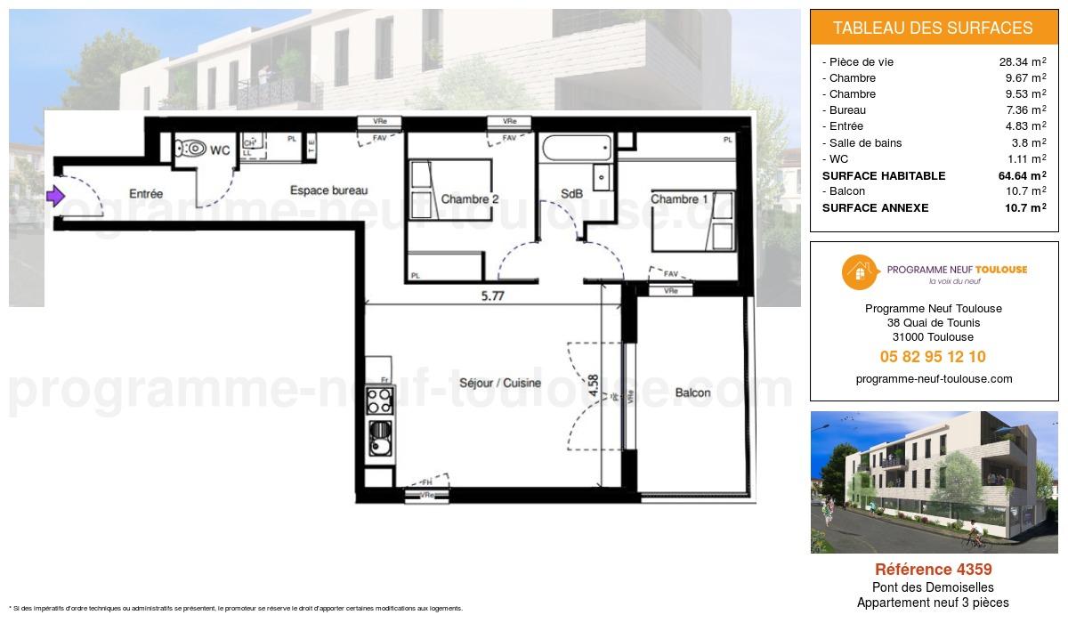 Plan pour un Appartement neuf de  64.64m² à Pont des Demoiselles
