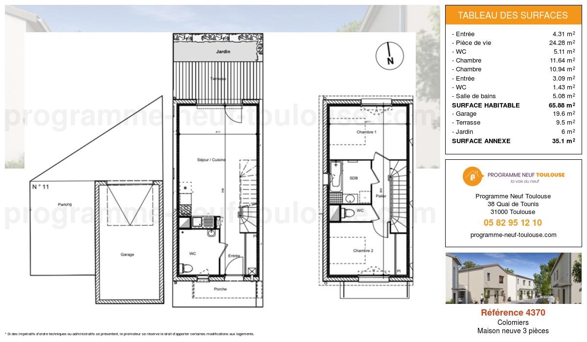 Plan pour un Maison neuve de  65.88m² à Colomiers