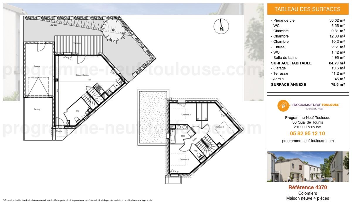 Plan pour un Maison neuve de  84.79m² à Colomiers