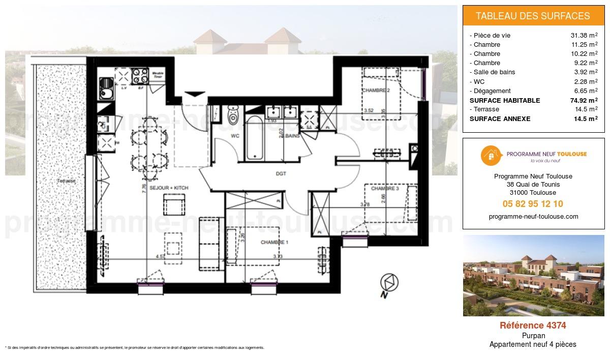 Plan pour un Appartement neuf de  74.92m² à Purpan