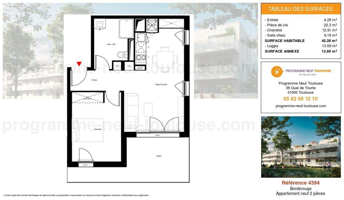 Plan pour un Appartement neuf de  45.28m² à Borderouge