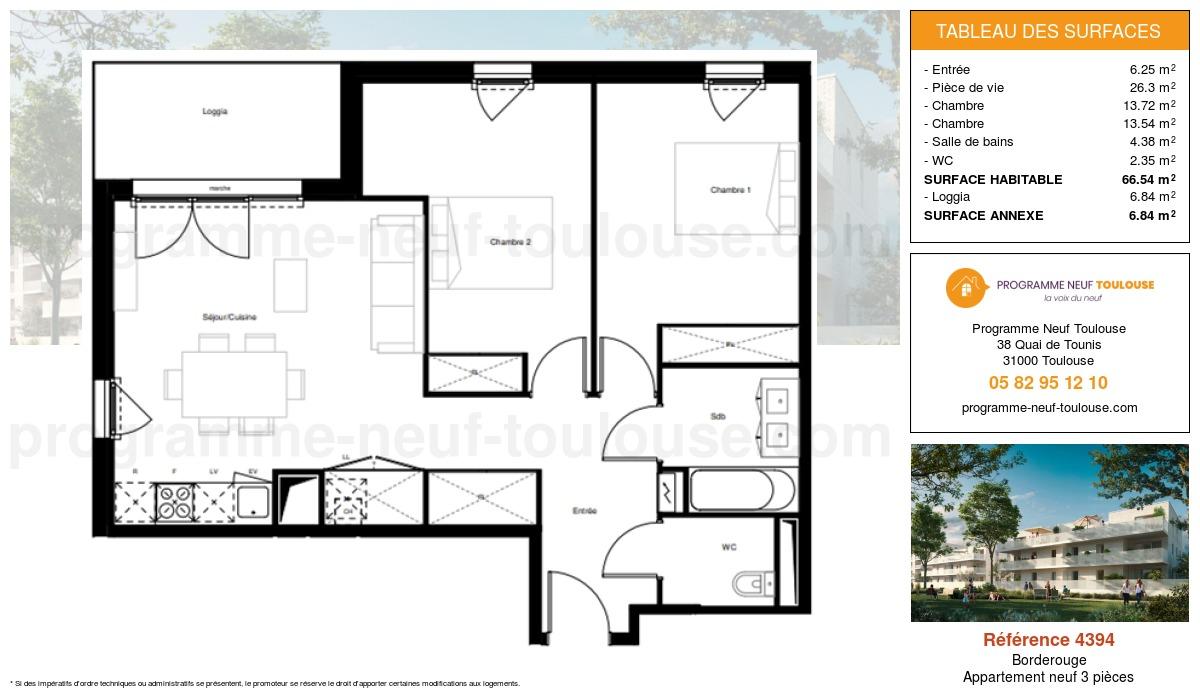 Plan pour un Appartement neuf de  66.54m² à Borderouge