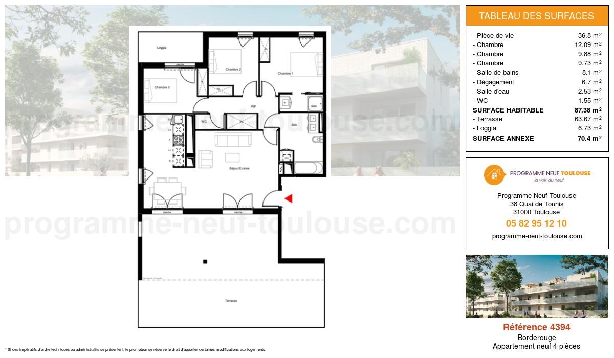 Plan pour un Appartement neuf de  87.38m² à Borderouge