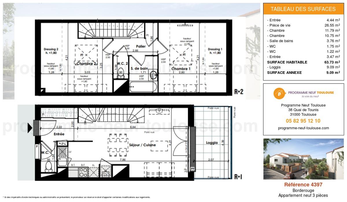 Plan pour un Appartement neuf de  63.73m² à Borderouge