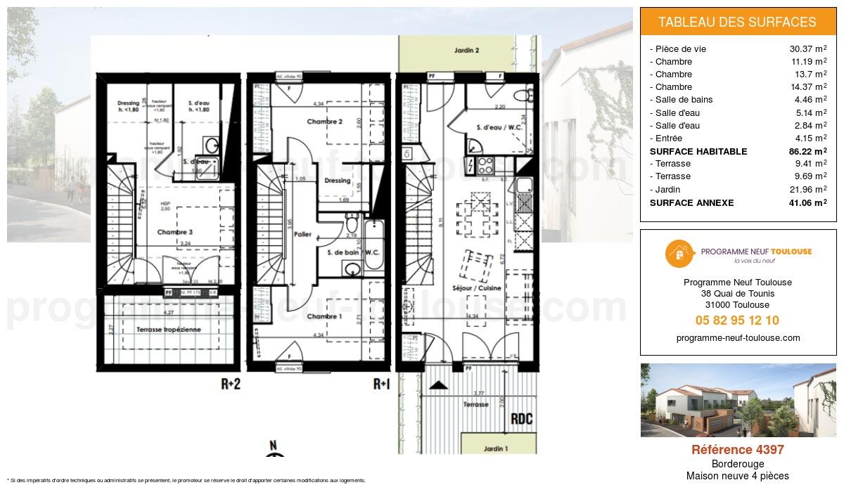 Plan pour un Maison neuve de  86.22m² à Borderouge