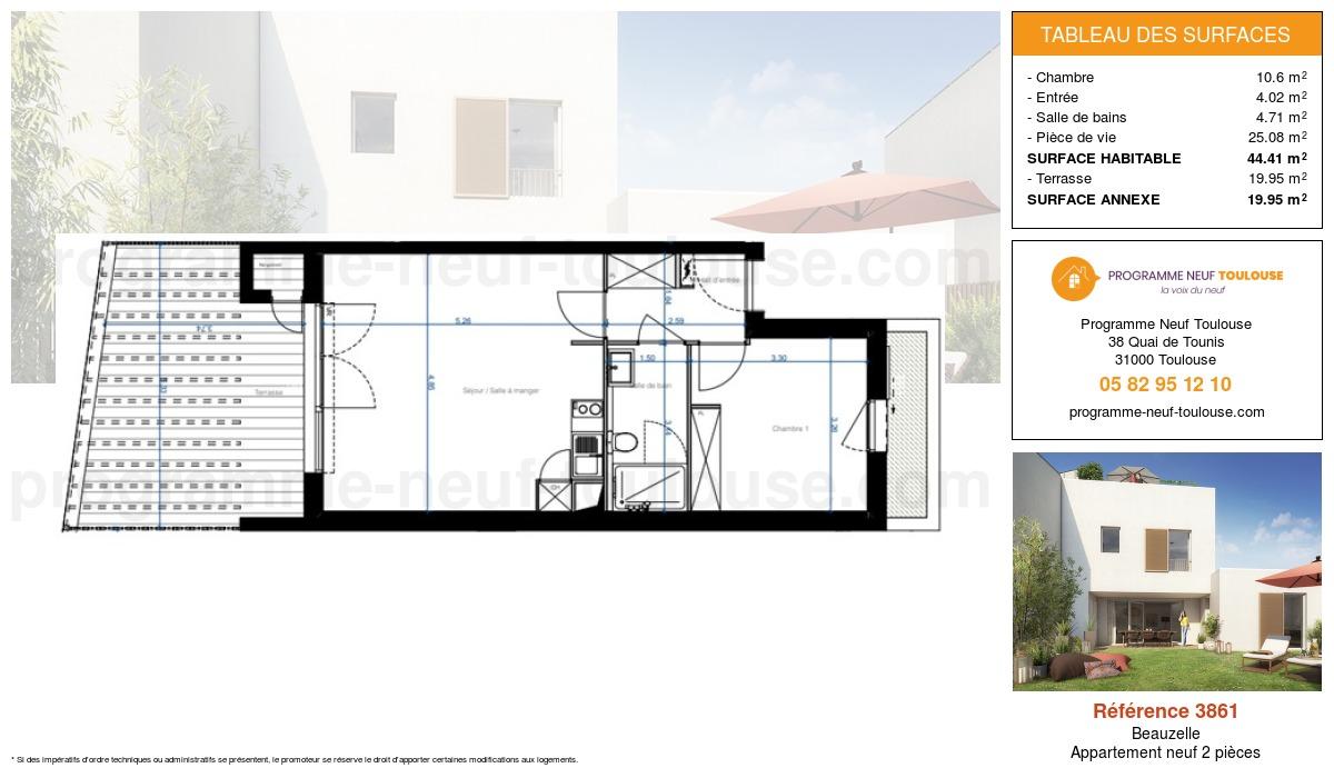 Plan pour un Appartement neuf de  44.41m² à Beauzelle