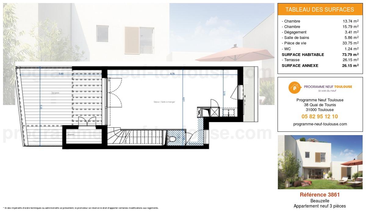Plan pour un Appartement neuf de  73.79m² à Beauzelle