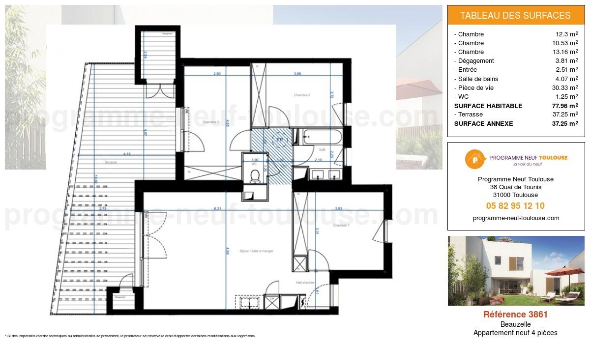 Plan pour un Appartement neuf de  77.96m² à Beauzelle