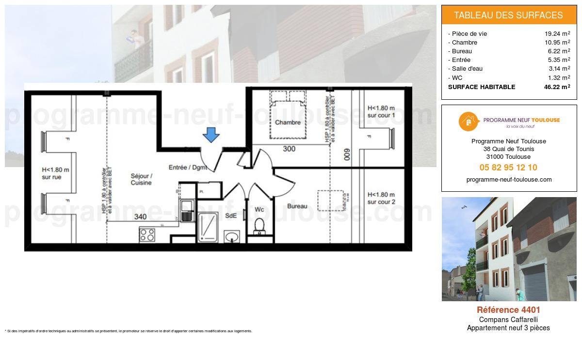 Plan pour un Appartement neuf de  46.22m² à Compans Caffarelli