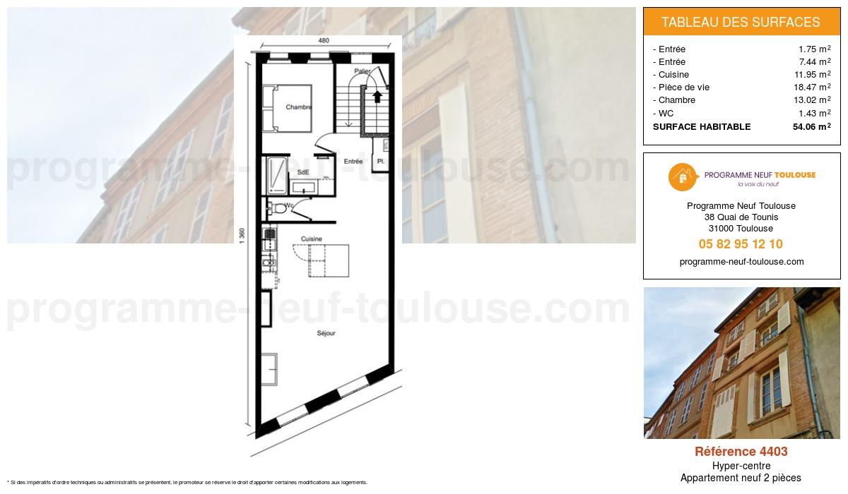 Plan pour un Appartement neuf de  54.05m² à Hyper-centre