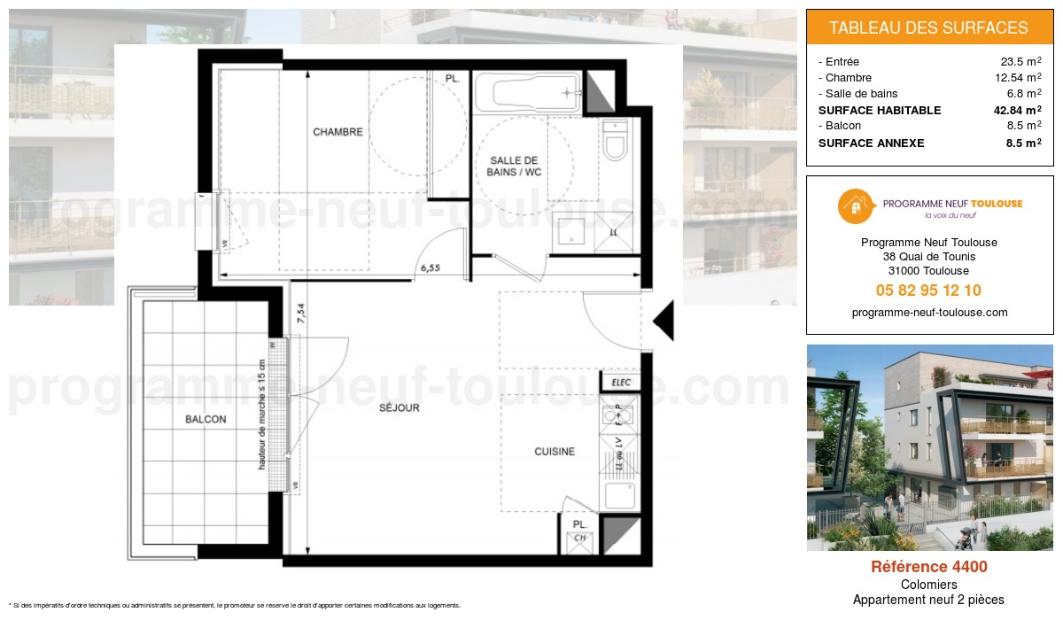 Plan pour un Appartement neuf de  42.84m² à Colomiers