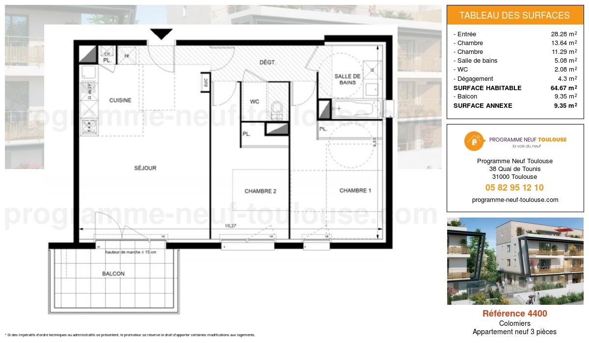 Plan pour un Appartement neuf de  64.67m² à Colomiers