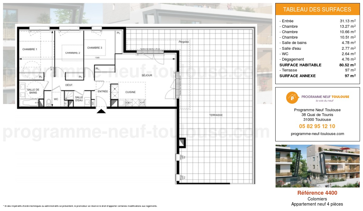 Plan pour un Appartement neuf de  80.52m² à Colomiers