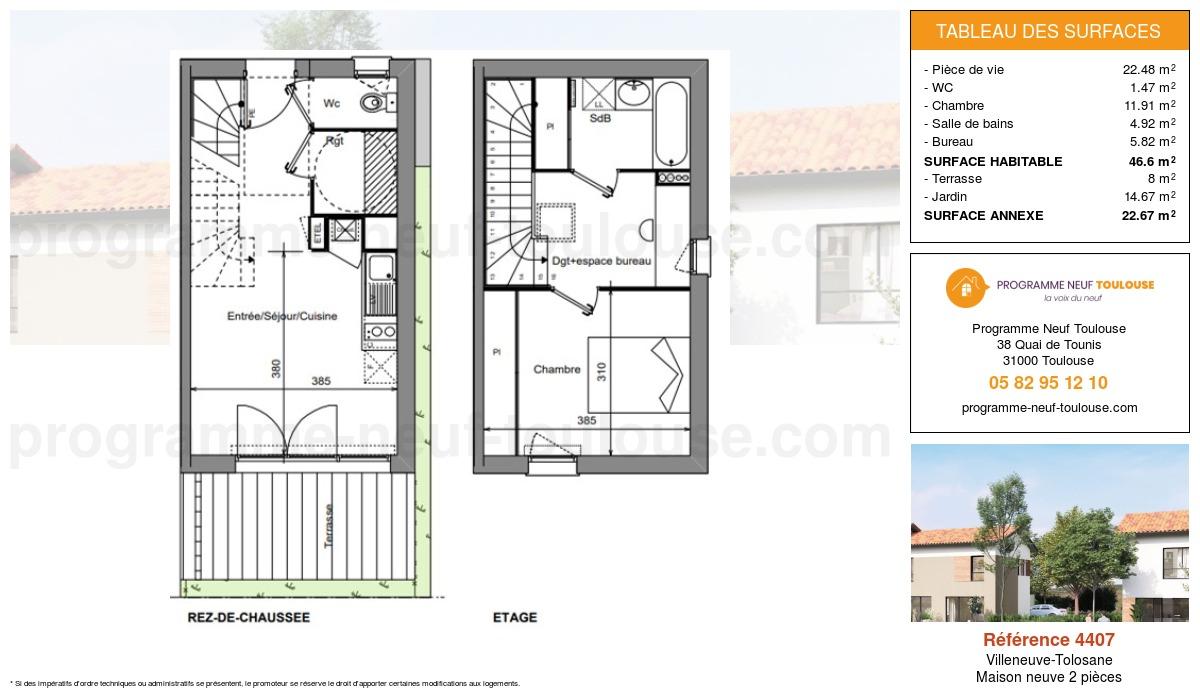 Plan pour un Maison neuve de  46.6m² à Villeneuve-Tolosane