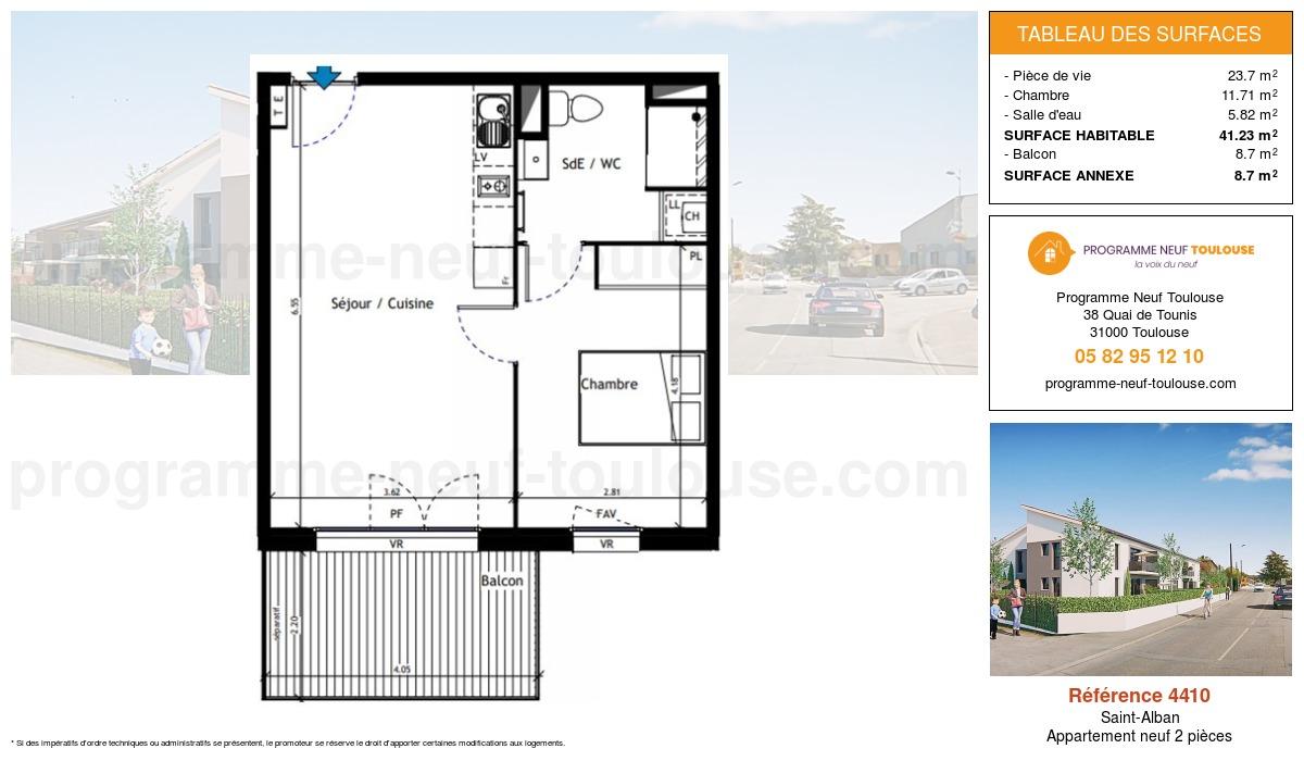 Plan pour un Appartement neuf de  41.23m² à Saint-Alban