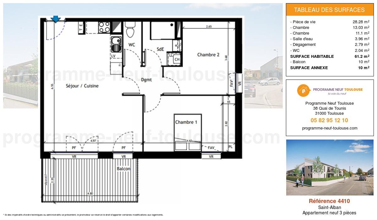 Plan pour un Appartement neuf de  61.2m² à Saint-Alban