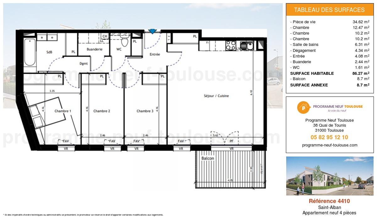 Plan pour un Appartement neuf de  86.27m² à Saint-Alban