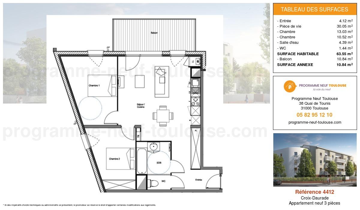 Plan pour un Appartement neuf de  63.55m² à Croix-Daurade