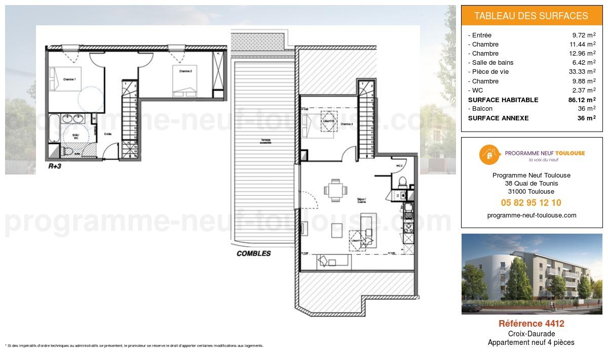 Plan pour un Appartement neuf de  86.12m² à Croix-Daurade