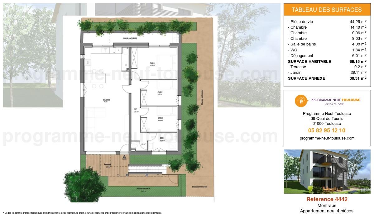 Plan pour un Appartement neuf de  89.15m² à Montrabé