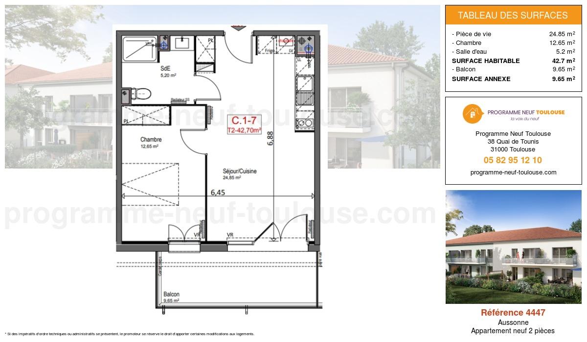 Plan pour un Appartement neuf de  42.7m² à Aussonne